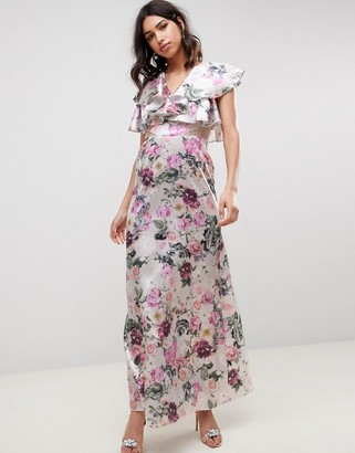 Asos Design DESIGN lace insert ruffle maxi dress in pretty floral print