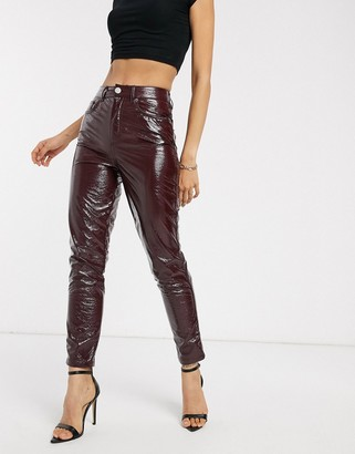 ASOS DESIGN ritson original mom jeans in burgundy crinkle vinyl