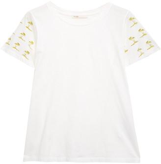 Maje Tigrina Metallic Embroidered Cotton-jersey T-shirt