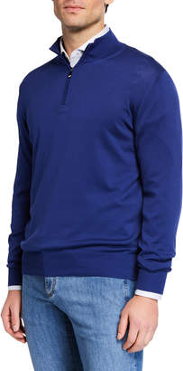 Canali Men's Mock-Neck Jersey Sweater, Blue