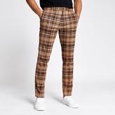 Mens River Island Brown check skinny smart trousers
