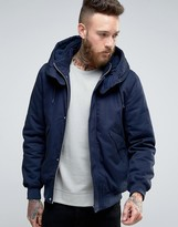 Asos Hooded Jacket With Borg Lined Hood In Navy