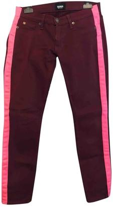 Hudson Burgundy Cotton Jeans for Women