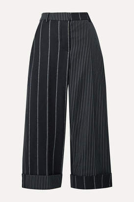 Thom Browne Cropped Pinstriped Wool Wide-leg Pants - Midnight blue