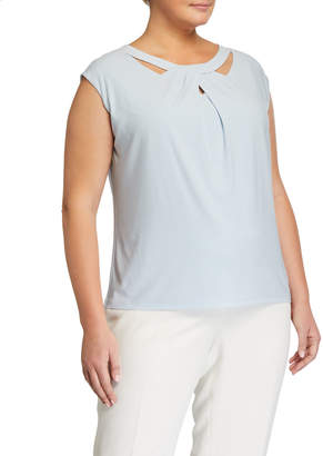 Kasper Plus Plus Size Criss Cross Neck Cap-Sleeve Top