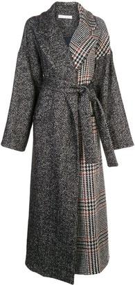 Oscar de la Renta Mixed Check Belted Coat