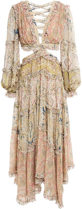 Zimmermann Lace-up Cutout Printed Georgette Maxi Dress