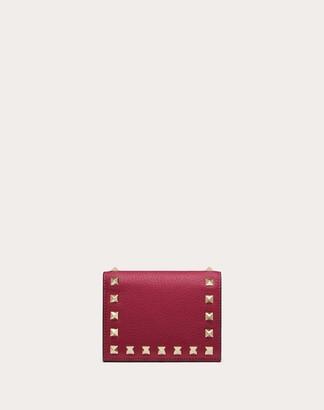 Valentino Compact Rockstud Grainy Calfskin Wallet Women Raspberry Pink Bovine Leather 100% OneSize
