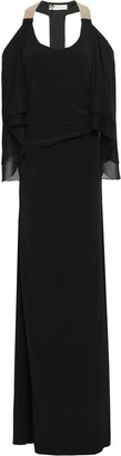 Lanvin Cape-effect Georgette-paneled Embellished Crepe Gown