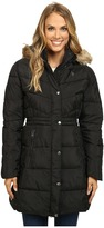 U.S. Polo Assn. Long Puffer Coat with Faux Fur Trimmed Hood