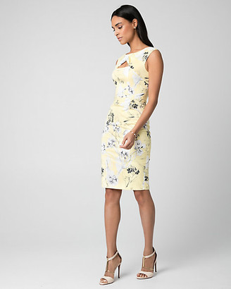 Le Château Floral Print Stretch Poplin Shift Dress