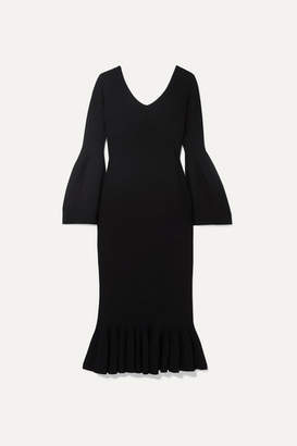 Stella McCartney Ruffled Cady Midi Dress - Black