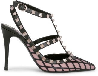 Valentino Rockstud Grid Leather Ankle-Strap Pumps