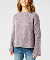 Carve Designs Women's Pullover Sweaters Smoke - Smoke Heather Bell-Sleeve Estes Crop Sweater - Women
