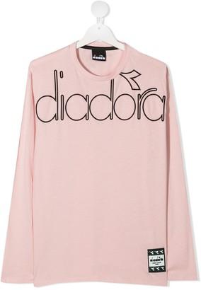 Diadora Junior TEEN logo-print long-sleeve T-shirt