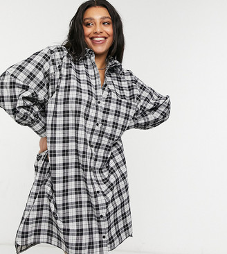 ASOS DESIGN Curve oversized boyfriend mini shirt dress in mono check