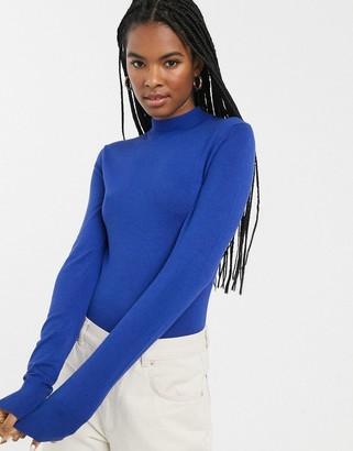 Monki round neck long sleeve rib sweater in cobalt blue
