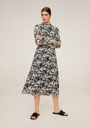 MANGO Printed pleated dress off white - 4 - Women