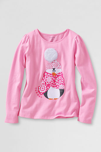 Lands' End Girls' Plus Long Sleeve Cozy Penguin Graphic T-shirt