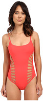 Red Carter Splice & Dice Side Cut Out Tank Mio One-Piece