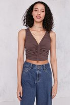 Silence & Noise Silence + Noise Laurel Ruched-Front Cropped Cupro Tank Top