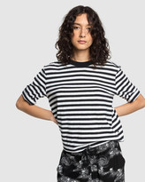 Quiksilver Womens Stripe Loose Mid Sleeve T Shirt