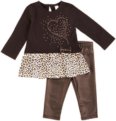 Petit Lem Black Cheetah Heart Peplum Top & Leggings - Infant