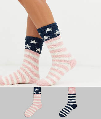 Original Penguin Penguin 2 pack bed socks in stars and stripes-Multi