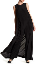 DKNY Sleeveless Wide Leg Side Cape Silk Blend Jumpsuit