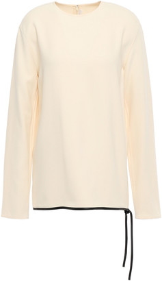 Victoria Beckham Leather-trimmed Knotted Crepe Top
