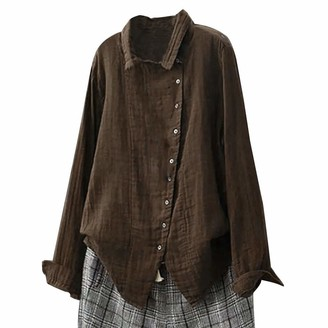 Veyikdg Women Tops veyikdg Women's Casual Solid Retro Turn-Down Collar Button Top Shirts Sweatshirt Long Sleeve Shirts Soft and Comfortable Blouse Brown