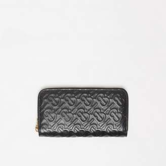 Burberry Monogram Leather Ziparound Wallet