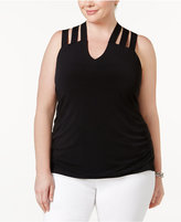 INC International Concepts Plus Size Lattice-Back Tank, Only at Macy's