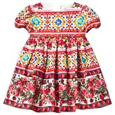 Dolce & Gabbana Red Majolica Print Cotton Dress with Briefs