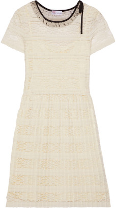RED Valentino Point D'esprit-trimmed Pleated Lace Dress