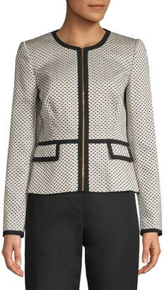 Calvin Klein Suit Separates Zip-Front Piped Novelty Jacket