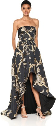 Mac Duggal Women's Strapless Hi-Low Floral Brocade Gown