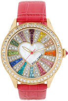 Betsey Johnson Women's Fuchsia Croc-Embossed Leather Strap Watch 42mm BJ00131-29
