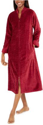 Miss Elaine Women Jacquard Cuddle Fleece Long Zipper Robe