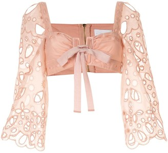 Alice McCall embroidered Baudelaire crop top