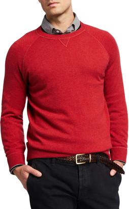 Brunello Cucinelli Men's Solid Cashmere Athletic Raglan Sweater