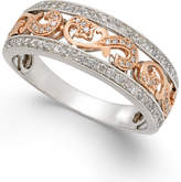 Macy's Men's Diamond Two-Tone Openwork Wedding Band (1/2 ct. t.w.) in 14k White & Rose Gold