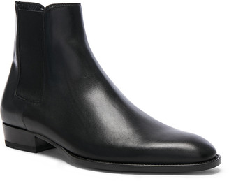 Saint Laurent Leather Wyatt Chelsea Boots in Black | FWRD