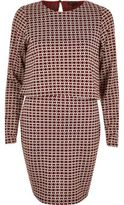 River Island Womens Red jacquard 2 in 1 bodycon dress