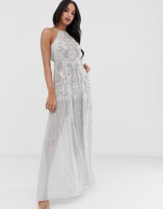 Asos Design DESIGN embellished artworked maxi dress-Grey