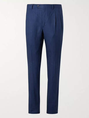 MP Massimo Piombo Slim-Fit Pleated Linen Suit Trousers - Men - Blue