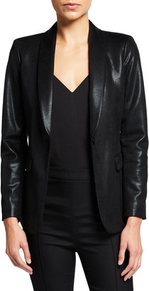 Alice + Olivia Richie Faux-Leather Fitted Blazer