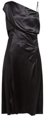 Versace Asymmetric Silk-satin Slip Dress - Womens - Black