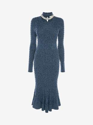 Alexander McQueen Crystal Rope Cable Knit Midi Dress