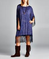 Simply Boho La Simply Boho LA Women's Casual Dresses NAVY - Navy Fringe-Trim Oversize Poncho - Women